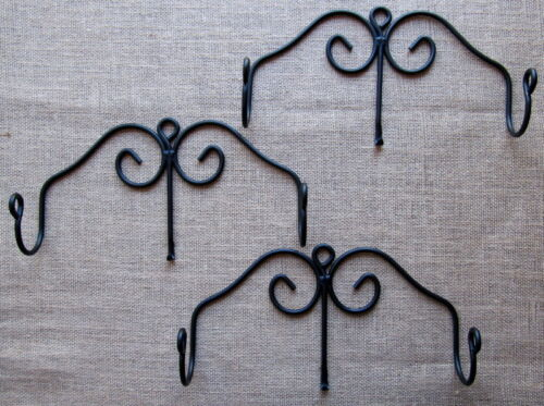 sturdy strong metal Amish forged black wrought iron hanging rolling pin holder