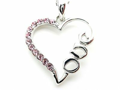 Heart Crystal Pendant Women Love Necklace Silver Plated w Extender Chain New