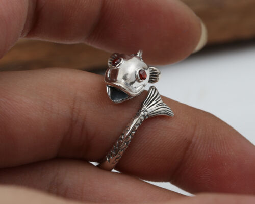 Silversterling silver ring anneaux poissons Bijoux Réglable Taille P537