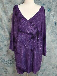Catherines-Womens-sz-3X-26-28W-Purple-Tie-Dye-Textured-Sequin-Stretch-Top