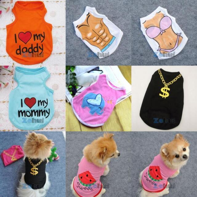 Small Dogs Cat Apparel Vest Pet Puppy T-shirt Coat Clothes XS S M L Multi-Styles