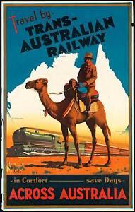 AUSTRALIANO-FERROVIA-DA-VIAGGIO-DI-TRENI-Vintage-Art-Deco-Poster-misure-A2-A3-A4