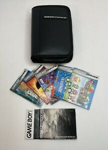 Nintendo-Gameboy-Advance-SP-Carrying-Case-Black-Zipper-w-5-Game-Booklets