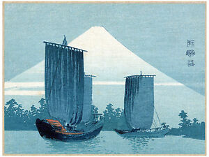 3054-Ships-by-mountain-asian-POSTER-Landscape-Japan-volcano-Decorative-Art