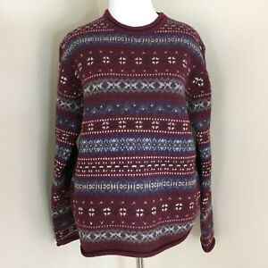 Eddie-Bauer-Women-s-Size-Small-100-Wool-Winter-Sweater-Fair-Isle-Nordic-M5