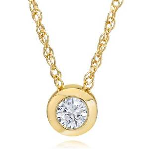 14K-Yellow-Gold-1-4-ct-Round-Diamond-Solitaire-Bezel-Pendant-Necklace-18-034