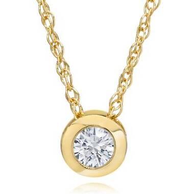 Pompeii3 14K Yellow Gold Round Diamond Solitaire Bezel Pendant & Chain