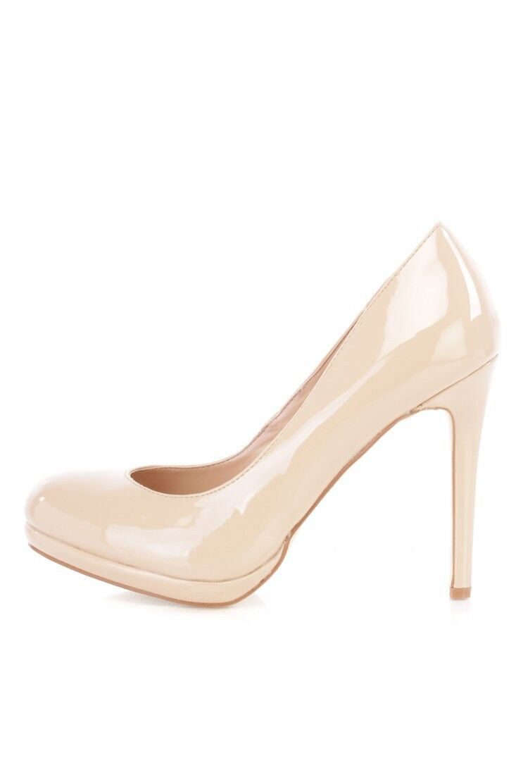 LOT NUDE BLACK Gold Silver FAUX TOE LEATHER POINTED Round TOE FAUX PUMP HIGH HEELS Wedges 422991