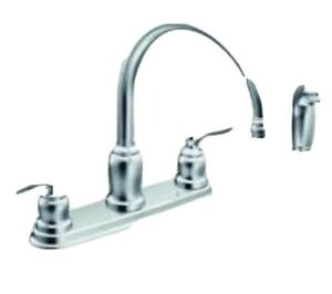 Moen Caldwell Double Handle Kitchen Faucet With Matching Side Sprayer 26508195246 Ebay