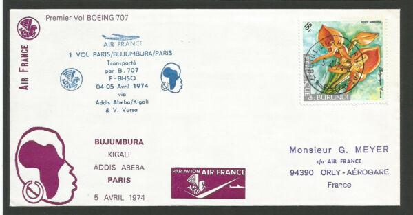 Analytique 1er Vol Paris Bujumbura Boeing 707 1974 Oblitération République Du Burundi/l1951 Rendre Les Choses Pratiques Pour Les Clients