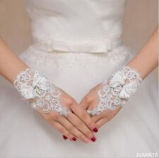Lace Beading Bow Bridal Glove White Wrist Length Finger Gloves Child Flower Gown