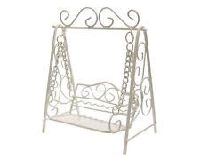 NEW FAIRY GARDEN MINIATURE -Metal Cream Fairy Garden Swing Bench - 13cm tall