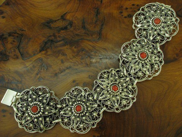 835 Bracciale Bracciale Bracciale argentoo Con Rosso Arte Decorazione con pietre floral 56 5g 18 8cm 2099b6