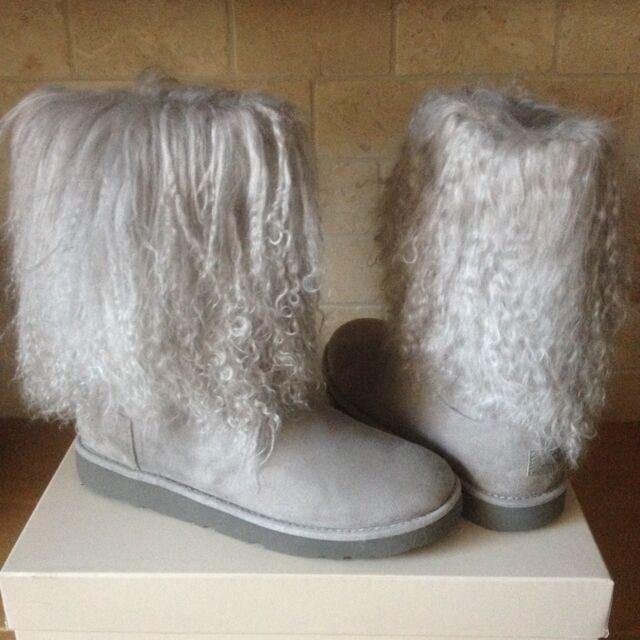 964b150912c UGG Lida Mongolian Sheepskin Cuff Gray Grey Suede Classic Boots Size 10  Womens