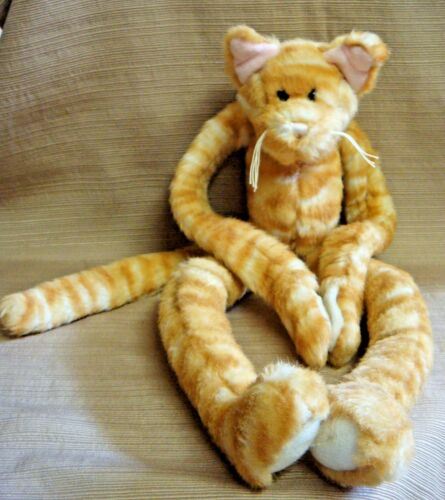 "18"" Plush ""HUGGING"" Yellow Striped KITTY CAT w Velcro on Paws"