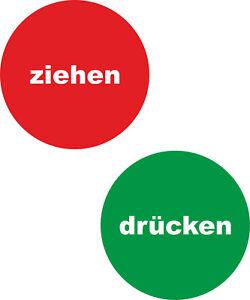 Hinweiss-Tuer-Aufkleber-Ziehen-und-Druecken-Uv-Wetterfest-rot-gruen-ab-5cm