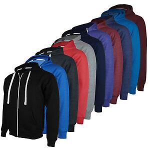 Mens-Zip-Up-Hoodie-Hooded-Top-Plain-Hoody-Fleece-Jacket-Size-S-M-L-XL-XXL-New