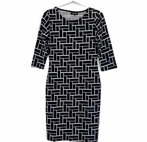 Caroline Morgan Womens Black/White 1/2 Sleeve Bodycon Dress Size 8