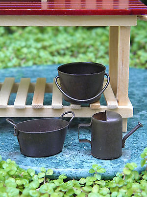 Miniature Dollhouse FAIRY GARDEN Accessories ~ Rust Watering Can, Pail & Tub NEW