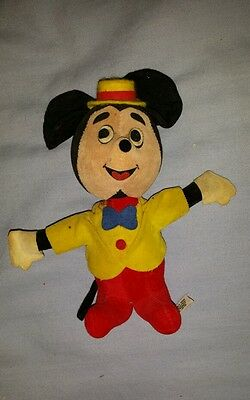 Vintage Walt Disney Productions Mickey Mouse wood by product plush figurine