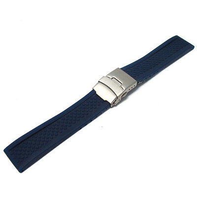 Silicone Deployment Mens Watch Strap Band 20mm 22mm (Style 2 Criss-Cross)