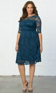 Kiyonna-Plus-Size-1X-Blue-Dress-Scalloped-Luna-Lace-Style-Party-Illusion-Yoke
