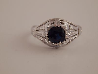 Handmade Vintage .91 ct Natural Ceylon Sapphire Solitaire 18k WG Filigree Ring