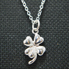 "925 Sterling Silver Plated Four Leaf Clover Pendant 18""Chain Necklace Lucky Gift"