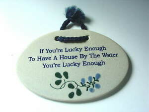 MOUNTAINE-MEADOWS-POTTERY-House-By-The-Water-Lucky-Wall-Sign-Plaque-NEW