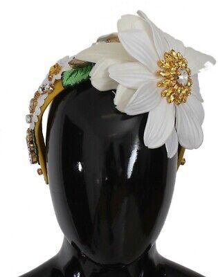 NEW $860 DOLCE /& GABBANA Diadem Headband Green Roses Floral Crystal Silver