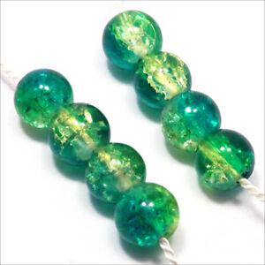 Lot de 20 perles craquelées en verre 10mm Bicolore Vert Jaune