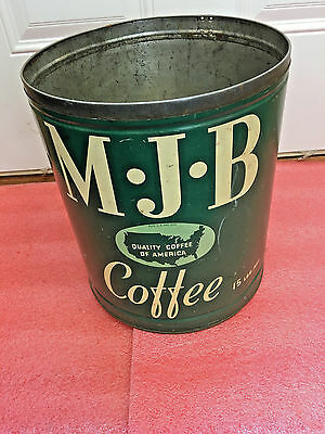 "BS7 RARE vintage MJB M J B Coffee tin can 15 lbs BIG 12"" H x 10"" dia No lid"