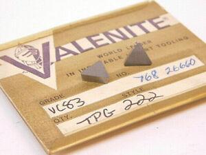 NEW-SURPLUS-10PCS-VALENITE-TPG-222-GRADE-VC83-CARBIDE-INSERTS