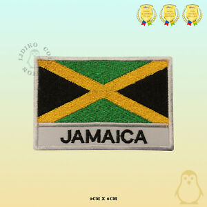Jamaica-National-Flag-With-Name-Embroidered-Iron-On-Sew-On-Patch-Badge