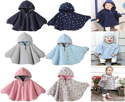 USA Newborn Baby Girls Hooded Cloak Poncho Jacket Outwear Kids Warm Coat Clothes