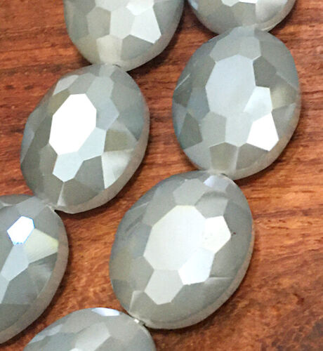 16x20mm Faceted Coffee Crystal Quartz Flat Oval Beads 10pcs