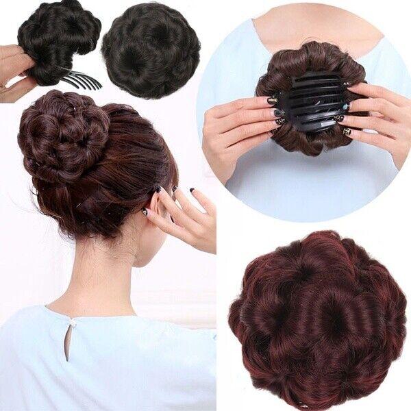 Womens Short Curly Hair Bun Updo HairPiece Hair Chignon Clip In hair Extensions