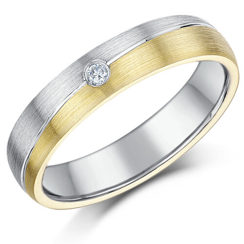 Details about  /9ct Two Colour Gold Ring /& Sterling Silver Diamond Grooved Ring *Sale* 5mm Band