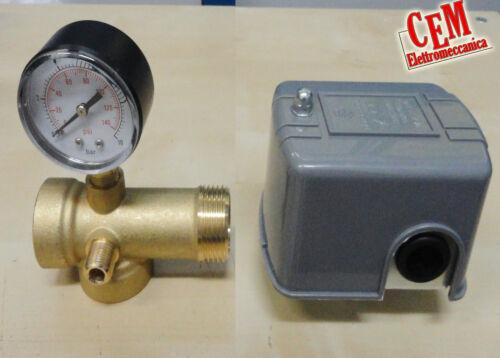 Pressostato per acqua fredda 1/4 F + Manometro + raccordo 5 vie autoclave pompa
