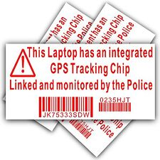 4 x Laptop Computer Security Sticker-GPS Police Tracking Sign-Dell,HP,Mac,Lock