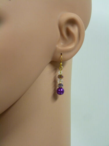 Glass Jewels geniales aretes ohrhänger Gold perlas lila violeta #d016