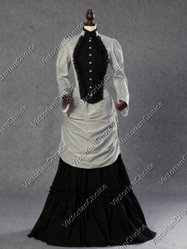 1900 Edwardian Dresses, Tea Party Dresses, White Lace Dresses    Victorian Edwardian Bustle Dress Gown Riding Habit Steampunk Punk Costume 139 $155.00 AT vintagedancer.com