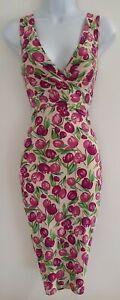 Para-Mujer-Fase-Ocho-Rosa-Verde-Floral-Vestido-Elastico-Wiggle-Tulipanes-reunidos-8-en-muy-buena
