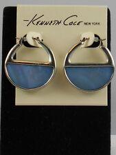 Kenneth Cole Silvertone DENIM DAYS Blue Shell Stone Hoop Earrings $32