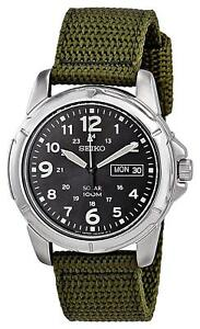 ccc987b3d Image is loading Seiko-Mens-Solar-Powered-Green-Canvas-Strap-SNE095P2-