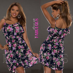 Sexy-Layered-Floral-Summer-Dress-Casual-Party-Evening-Size-4-6-8-10-12-S-M-L