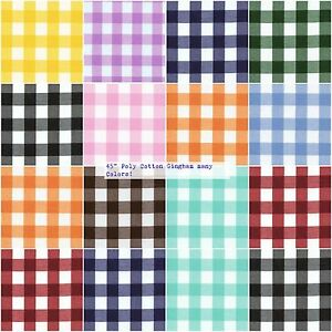 Gingham-Fabric-1-034-Checkered-Poly-Cotton-Fabric-45-034-Wide-Fabric-Sold-By-The-Yard