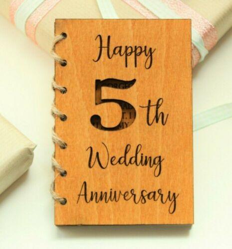5th WEDDING ANNIVERSARY HANDMADE Card Anniversary Card Wood Anniversary