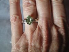 Green Quartz & white topaz ring, 1.69 carats, size N/O, set in 4.25 grams of 925