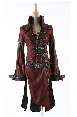 Fashion Punk Streampunk Visual Kei Dark line Cross Gothic Trench Coat Jacket